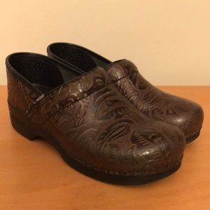 Dansko brown tooled leather clogs size 11.5